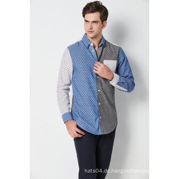 Mode Baumwolle gedruckt Kontrast Langarm Herrenhemden