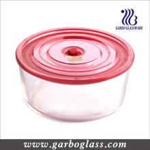 Caja redonda de cristal, tazón de fuente redondo, tazón de fuente de almacenamiento, envase de cristal (GB13G15187)