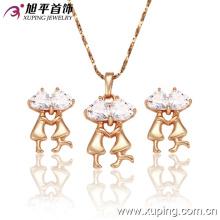 Mode élégant plaqué or CZ cristal imitation bijoux ensemble avec un couple ou amoureux --62402