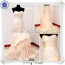 JJ0024 Actural Taffta Sweetheart Mermaid champanhe vestidos coloridos de casamento para mulheres maduras