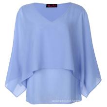 Hanna Nikole Sexy Women's Plus Size 0X~4X Open Sleeves V-Neck Light Blue Chiffon Tops HN0019-1