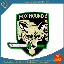 Remendo / emblemas personalizados do bordado de máquina da cabeça do lobo