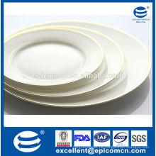 Chinesische Fabrik Großhandel Gold fertige keramische Platten neue Knochen China Dessert Platten