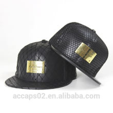 leather plain snapback cap