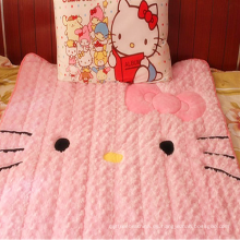 Hello Kitty juego de cama bordado manta terciopelo rosa