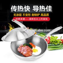 Wok de freidura de acero inoxidable con mejores ventas de 30cm