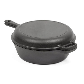 double use cast iron sauce pan with vegetable oil