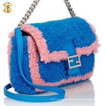 Handmade Lady Bag Fur Tote Bag For Women Sheep Fur Lady Handbag