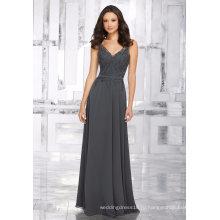 Серый Шифон Бисероплетение Вышивка Свадебное Платье Невесты Платье