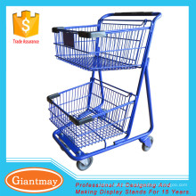 stores shopping cart with 2 tier to transport fruits