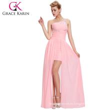 Grace Karin rebordeado corto delantero largo de espalda rosa un hombro vestido de noche CL3828