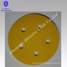 Disque de ponçage jaune avec papier enduit enduit rond trou 5