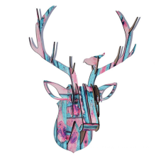 Décoration de Noël à la main multicolore Décoration de Noël à la tête de cerf