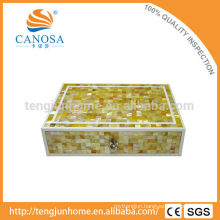 Hotel Amenity Luxury Golden MOP Shell Storage Box in Zigzag Shape