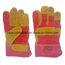 Reinforcement Palm Cow Split Leather Working Work Gloves