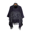Lady Fashion Paisley Jacquard Acrylic Knitted Winter Turtleneck Poncho (YKY4509)