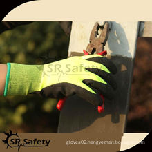 SRSAFETY 13G Hi-Viz yellow coated sandy nitrile glove,winter oil nitrile glove