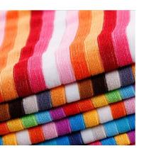 Tecido de poliéster colorido Stripe Terry toalha de pano para casa