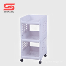 Shantou practical plastic storage shelf bathroom organizer with wheel
