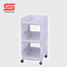 Shantou practical plastic storage shelf bathroom organizer with wheel