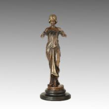 Weibliche Sammlung kleine Größe Bronze Skulptur Fairy Decor Messing Statue TPE-893/895/896