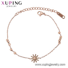 Bracelet-137 Xuping imitation jewellery rose gold color design women charm bracelet
