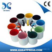 Tasse en céramique de flans Sublimation 11OZ avec colorfol intérieure et poignée
