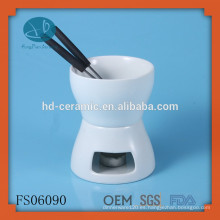 Pequeño conjunto de fondue de cerámica simple, fondue de chocolate de cerámica de color sólido para dos, FDA, CE / UE, Certificación SGS y Set Fondue