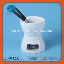 Pequeno conjunto simples fondue de cerâmica, fondue de chocolate cerâmico de cor sólida definido para dois, FDA, CE / UE, Certificação SGS e Fondue Set