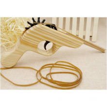 Wooden Gun Toy with Rubber Band for Kids and Children
