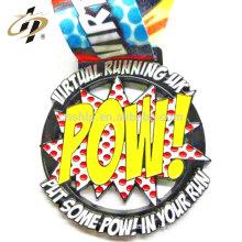 Diseño en 2D personalizado POW metal deportes corriendo medalla con cinta