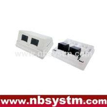 2 ports Surface Box 45 degree UTP Cat5e 2xRJ45 PCB jack