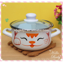 3Pcs coating cute cat mini enamel cookware casserole sets with PP knob glass Lid and enamel handle