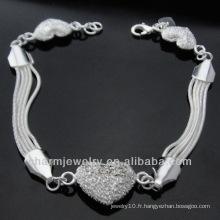 Bracelet en argent sterling 925 en argent sterling avec bracelet en argent sterling BSS-010