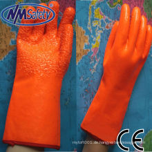NMSAFETY Schaumisolierter Liner beschichtet orange fluoreszierender PVC-Handschuh