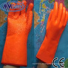 NMSAFETY forro de espuma recubierta de naranja recubierto de guante fluorescente de pvc