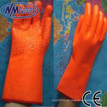Luva de pvc fluorescente laranja com revestimento de espuma NMSAFETY
