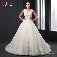 Сл-022 высокого качества a-line тюль кружева аппликации свадебное платье 2016 Алибаба