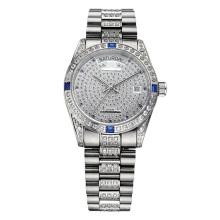 Reloj de pulsera de lujo Full Stone para hombre y mujer