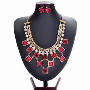 Fancy jewelry sets, made of copper and rhinestones, gold-plated, eco-friendly