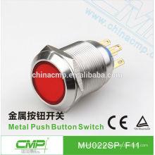 Interruptor de botón eléctrico a presión SPST o DPDT de acero inoxidable momentáneo o con cerrojo de 22 mm CMP 120v