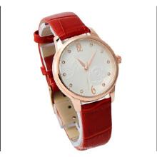 2015 couro moda pulseira senhora relógio