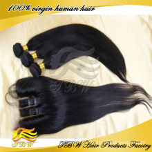 100% não transformados cabelo virgem mongol pacotes com fechamento de renda 3 vias parte reta