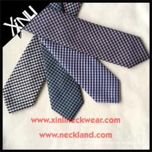 Hot Sale Check Jacquard Cheap Custom Slim Polyester Tie