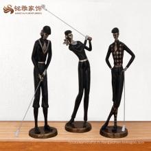 Décoration en gros de figurines de golf noir polyresin noir pour objets de collection