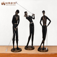 Wholesale decoration funny black polyresin golf figurines for collectibles