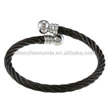 Braceletes de aço inoxidável Braceletes corda Design Open Cuff Pulseira folheados
