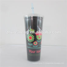paille de 24oz gobelet plastique, plastique Double mur paille coupe, gobelet en plastique double paroi