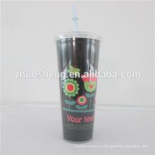 24oz пластик стакан, пластиковые двойной стены солому Кубок, пластиковый стакан двустенных соломы