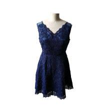Vestido de verano elegante sin mangas Jacquard de encaje de verano